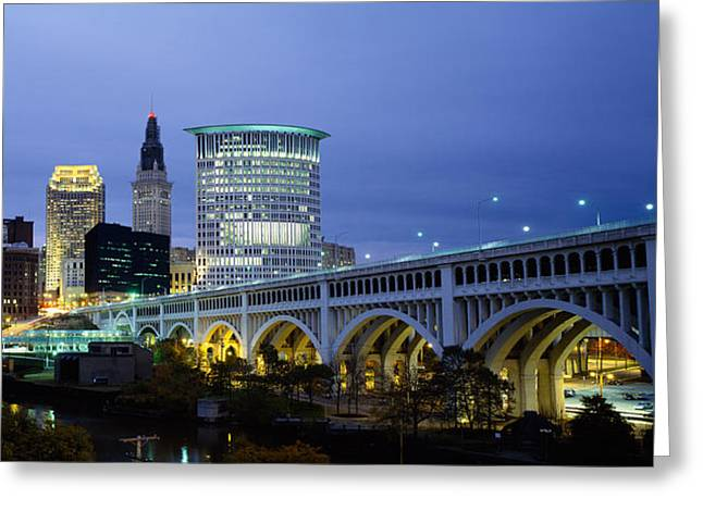 Bridge In A City Lit Up At Dusk Greeting Card by Panoramic Images