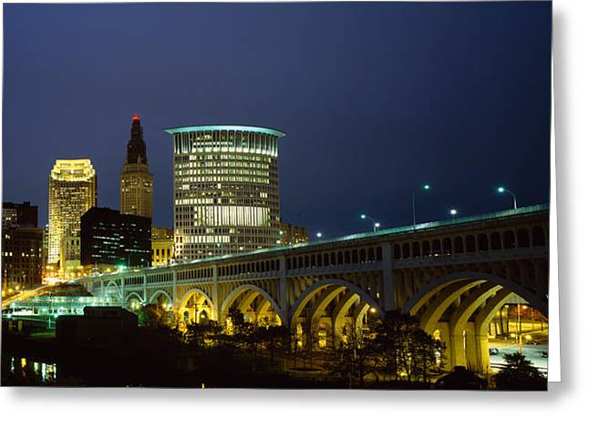 Bridge In A City Lit Up At Night Greeting Card by Panoramic Images