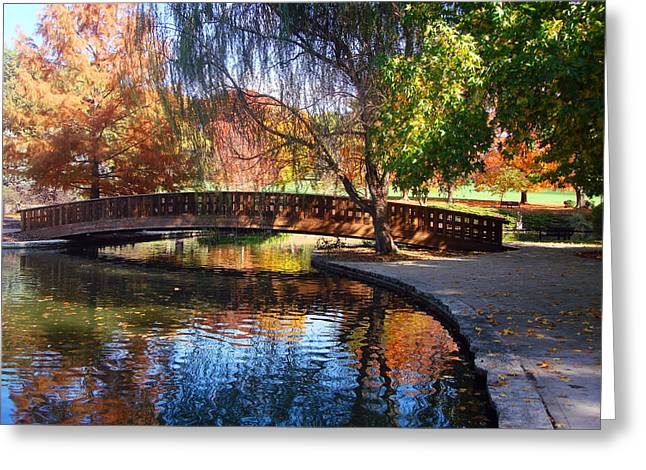 Bridge In Autumn Greeting Card by Ellen Tully