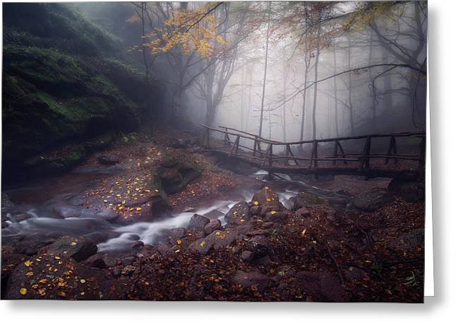 Bridge In Mystical Forest. Greeting Card