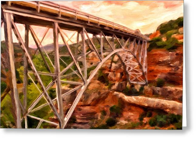 Bridge In Oak Creek Canyon Greeting Card by Michael Pickett