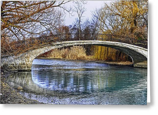 Bridge In The December Sun Greeting Card by Rodney Campbell