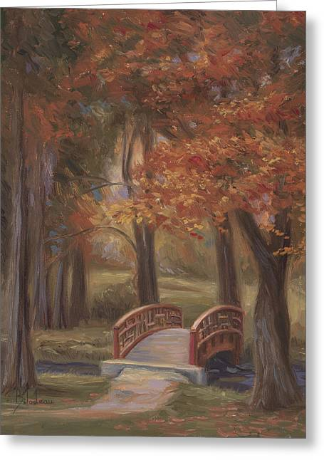 Bridge In The Fall Greeting Card by Lucie Bilodeau