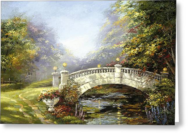 Greeting Card featuring the painting Bridge In The Park by Dmitry Spiros