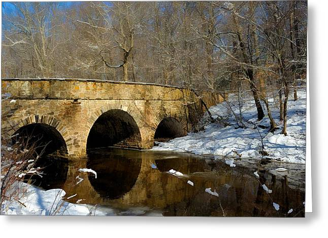 Bridge In Woods Greeting Card