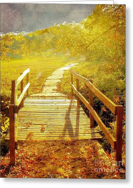 Bridge Into Autumn Greeting Card