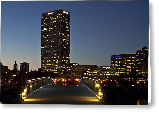 Greeting Card featuring the photograph Bridge Into Milwaukee by Deborah Klubertanz