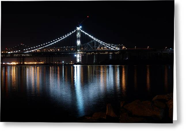 Bridge Lights Greeting Card by Michael Courtney