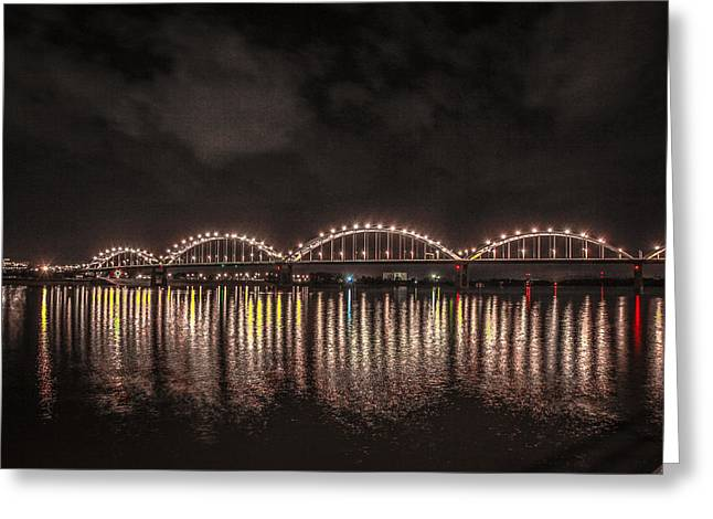 Greeting Card featuring the photograph Bridge Lights by Ray Congrove