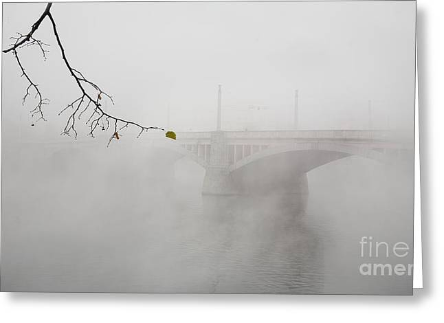 Bridge Of Prague In The Morning Fog Greeting Card
