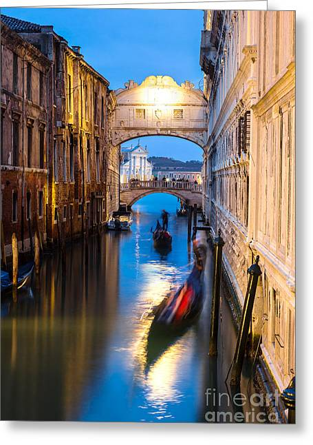 Bridge Of Sighs At Dusk With Gondolas On The Canal - Venice Greeting Card by Matteo Colombo