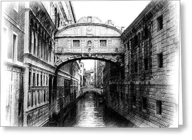 Bridge Of Sighs Pencil Greeting Card