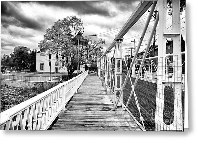 Bridge On Main Street Greeting Card by John Rizzuto
