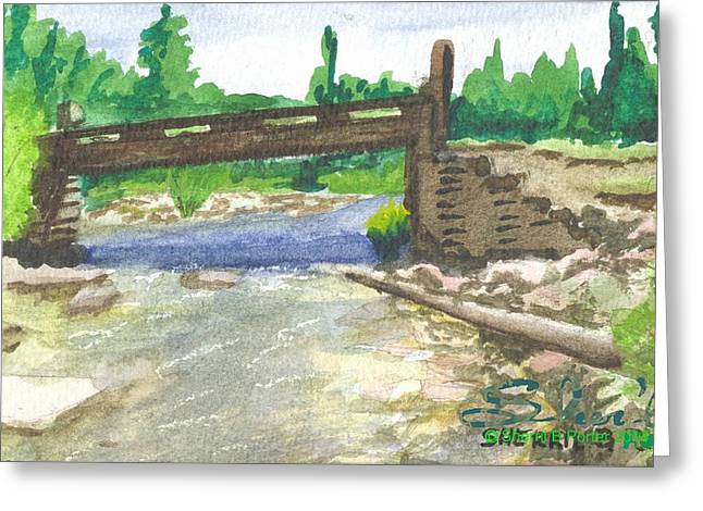 Greeting Card featuring the painting Bridge On The Red Cloud Loop by Sherril Porter