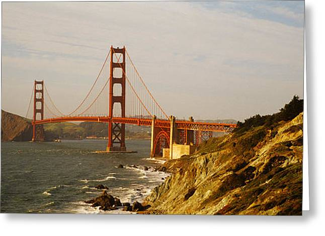 Bridge Over A Bay, Golden Gate Bridge Greeting Card by Panoramic Images