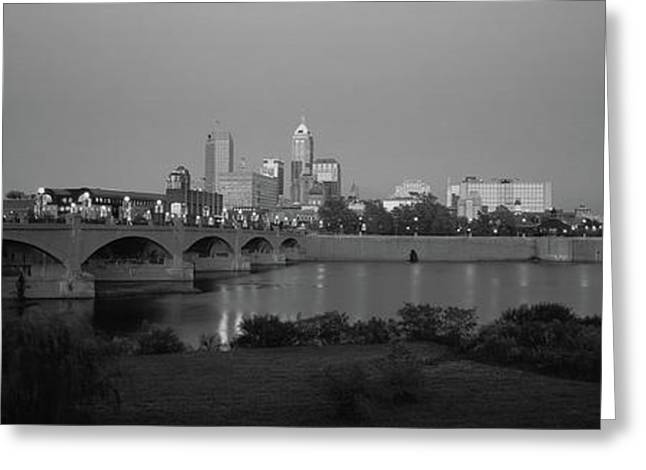 Bridge Over A River With Skyscrapers Greeting Card by Panoramic Images