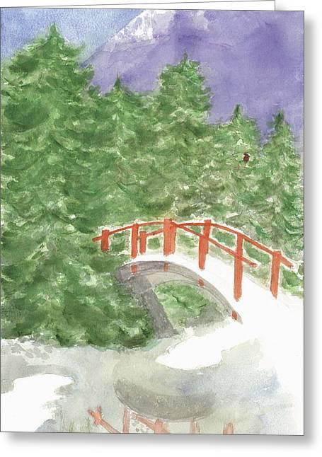 Bridge Over Frozen Water Greeting Card
