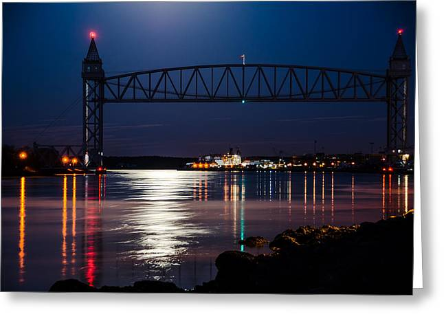 Bridge Over Moonlit Water Greeting Card