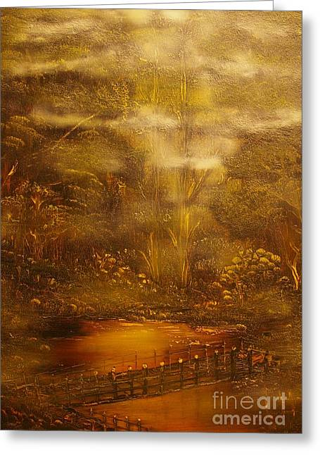Bridge Over Muddy Waters- Original Sold - Buy Giclee Print Nr 35 Of Limited Edition Of 40 Prints   Greeting Card