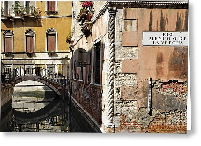 Bridge Over Narrow Canal Greeting Card by Sami Sarkis