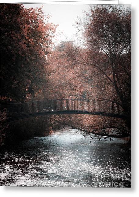 Bridge Over Sparkling River Greeting Card