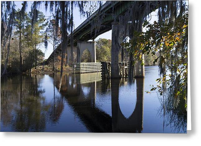 Bridge Over The Waccamaw On An Autumn Afternoon Greeting Card