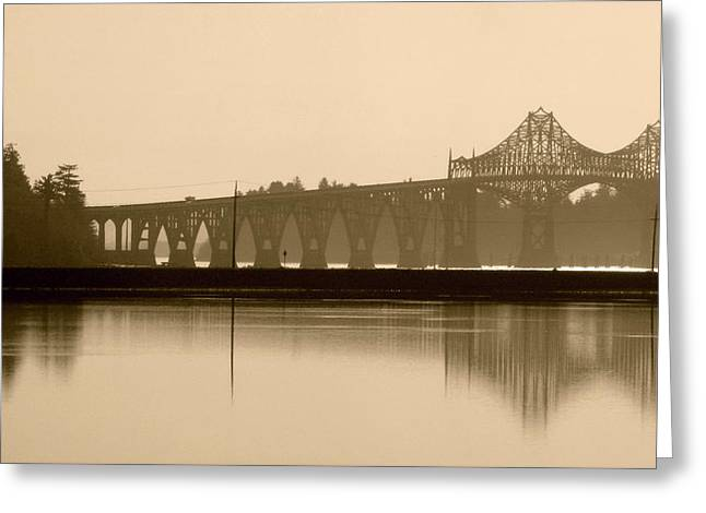 Bridge Reflection In Sepia Greeting Card by Katie Wing Vigil