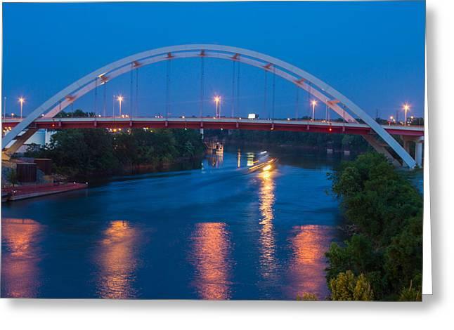 Bridge Reflections Greeting Card by Robert Hebert