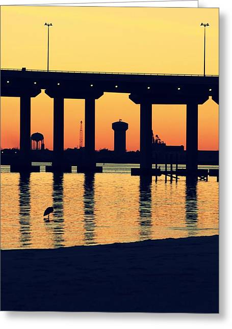 Bridge Sunset Greeting Card by Hillery Bosarge