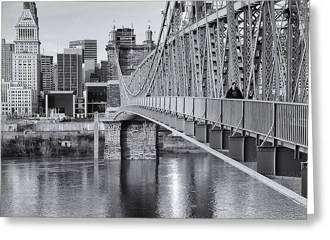 Bridge To Cincinnati Greeting Card by Diana Boyd