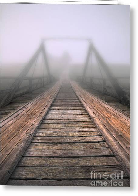 Bridge To Fog Greeting Card by Veikko Suikkanen