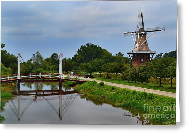 Bridge To Holland Windmill Greeting Card