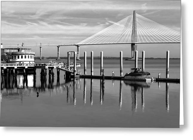 Bridge To Mount Pleasant - Black And White Greeting Card