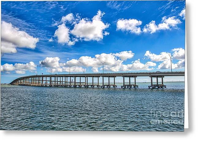 Bridge To South Padre Greeting Card by Tod and Cynthia Grubbs