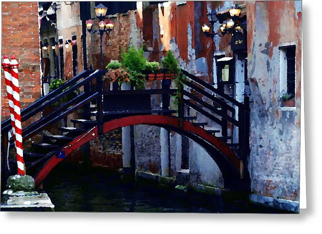 Abstract - Bridge With Flowerbox Greeting Card by Jacqueline M Lewis