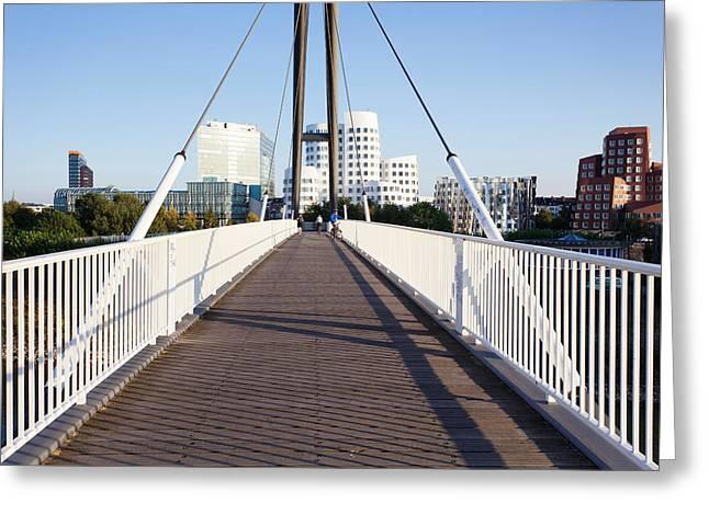 Bridge With Neuer Zollhof Buildings Greeting Card