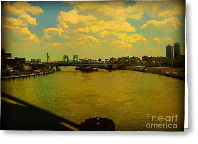 Greeting Card featuring the photograph Bridge With Puffy Clouds by Miriam Danar