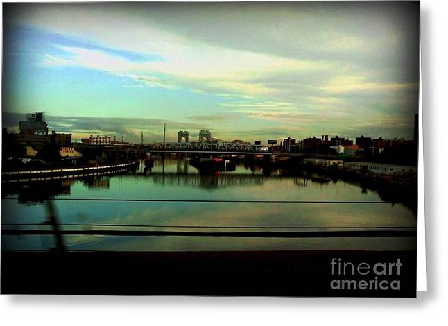 Bridge With White Clouds Greeting Card by Miriam Danar