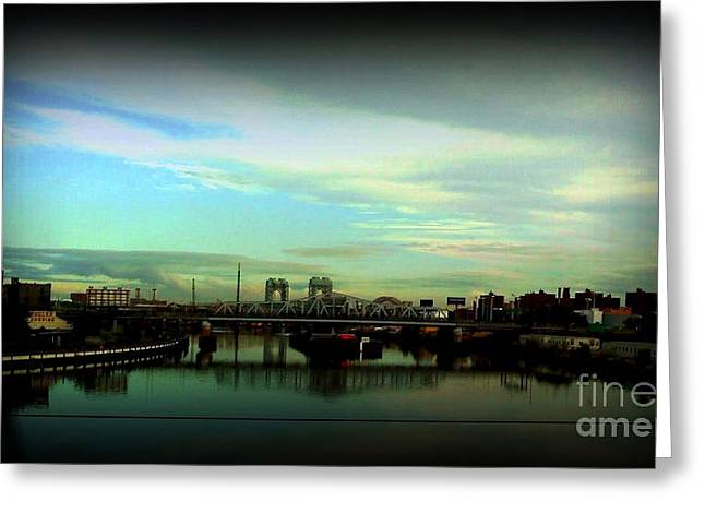 Bridge With White Clouds Vignette Greeting Card by Miriam Danar
