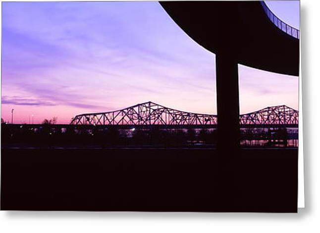 Bridges In A City At Dusk, Louisville Greeting Card by Panoramic Images