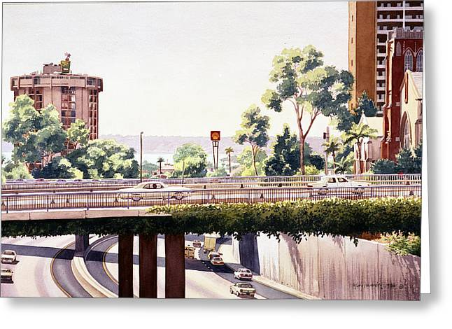 Bridges Over Rt 5 Downtown San Diego Greeting Card by Mary Helmreich