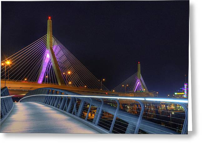 Bridges - Zakim Bridge Boston Greeting Card by Joann Vitali