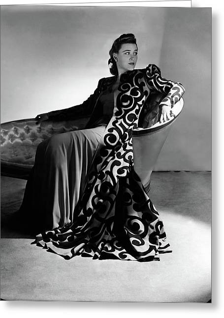 Bridget Bate Tichenor Sitting On A Chaise Lounge Greeting Card by Horst P. Horst