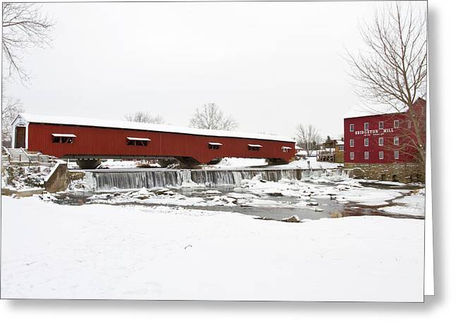 Bridgeton Covered Bridge In Winter Greeting Card