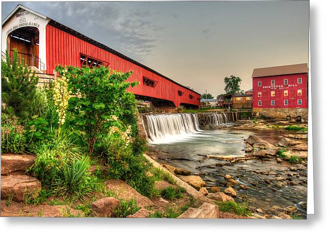Bridgeton Mill And Covered Bridge Greeting Card by Gregory Ballos