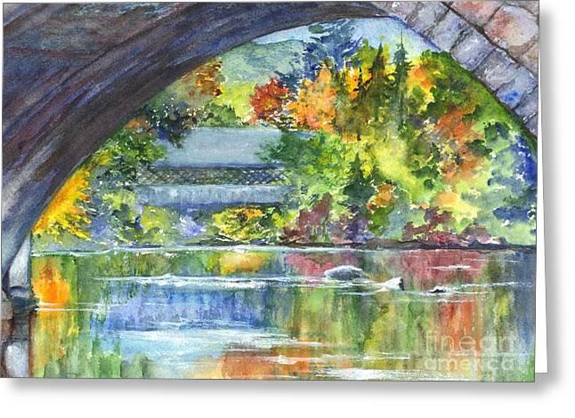 A Covered Bridge In Autumn's Splendor Greeting Card by Carol Wisniewski