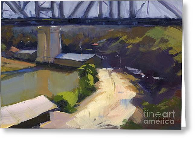 Greeting Card featuring the painting Bridging Gaps After Colley Whisson by Nancy  Parsons