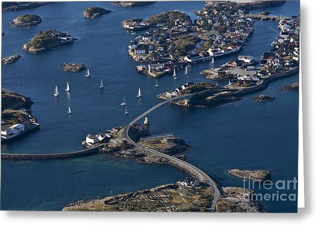 Norway Village Greeting Cards - Bridging the Ocean Greeting Card by Heiko Koehrer-Wagner