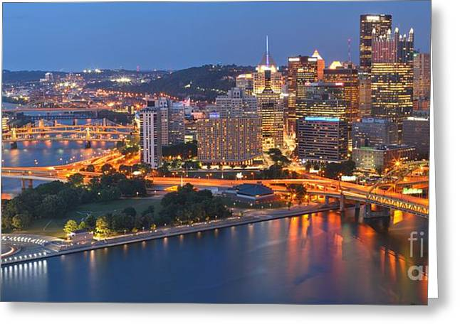 Bridging The Pittsburgh Rivers Greeting Card by Adam Jewell