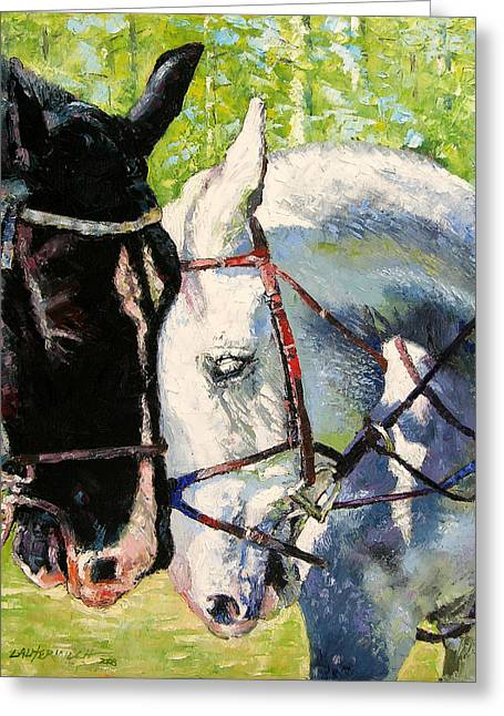 Bridled Love Greeting Card by John Lautermilch